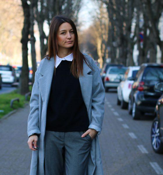 Long manteau gris & Superstar blanches